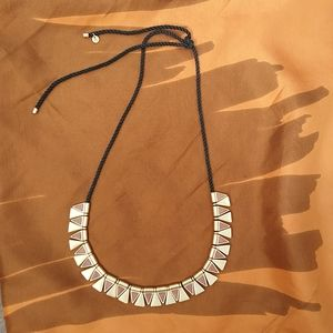 Madewell necklace with gold and leather triangles